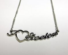 Pittsburgh Steelers Script Heart Silver Necklace | Steel City Collectibles