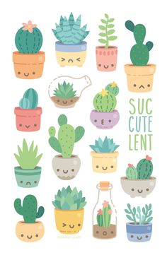 pots just sitting there happy waiting for a new home on your wall! mini print, printed on heavy Smooth Satin Cover Stock. All mini prints are shipped in a sturdy bubble mailer and protected in a plastic sleeve. Journal Stickers, Planner Stickers, Kawaii Drawings, Easy Drawings, Cactus Drawing, Succulents Drawing, Good Notes, Aesthetic Stickers, Cute Stickers