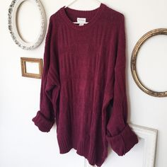 Chunky Burgundy Oversized Sweater Dress • AMAZING Vintage Oversized Sweater • Chunky, Billowy Fit • Burgundy Knitt• MATERIAL: 55% Ramie, 45% Cotton• FIT: One size fits all (XS-XL). Made to be oversized and loose. Vintage - Brand put for views Brandy Melville Sweaters Crew & Scoop Necks