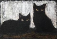 "Saatchi Art Artist Eva Fialka; Painting, ""BLACK CATS"" #art"