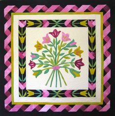 """Tulip Bouquet quilt pattern, 38"""" square, by Nancy Rink at Nancy Rink Designs"""