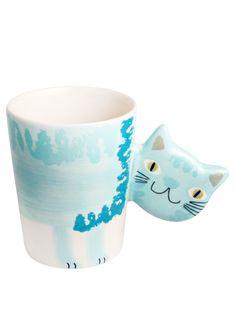 A Loja do Gato Preto   Caneca Gato Pincel Azul #alojadogatopreto
