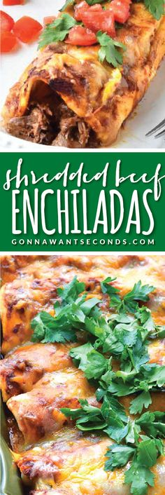 Beef Enchiladas Shredded Beef Enchiladas-these are unbelievably delicious enchiladas loaded with tender, juicy Shredded Beef, lots of gooey Cheese and an authentic Enchilada Sauce!Shredded Beef Enchiladas-these are unbelievably delicious enchiladas loaded Enchilada Recipes, Meat Recipes, Mexican Food Recipes, Dinner Recipes, Cooking Recipes, Meat Meals, Enchilada Casserole, Casserole Recipes, Dinner Ideas