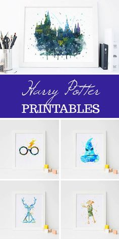 Harry Potter Printables - Watercolor Hogwarts, Harry, Sorting Hat, Dobby, and Deathly Hallows #watercolors #etsy #ad #harrypotter