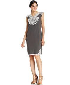 Alfani Embroidered Shift Dress | macys.com