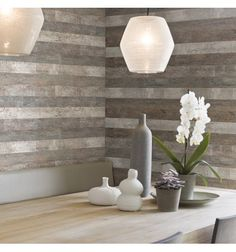 A recycled industrial wood-look wallpaper from Aspiring walls adds some real character to walls. Decor, Wallpaper Trends, Contemporary Wallpaper, Wood Planks, Home Wallpaper, Wall Coverings, Wood Wallpaper, Faux Wood, Dining