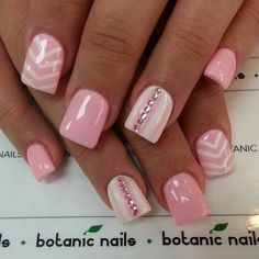 #pink #white #stripes #rhinestones #nails