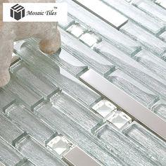 TST Crystal Glass Tile Crystal Glass Tiles silver Strip Stainless Steel Kitchen Backsplash Bar Counter Bathroom Shower Deco