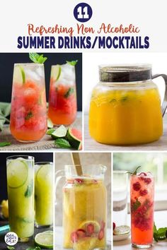 11 refreshing quick and easy summer non-alcoholic drinks that will help you to beat the heat. And, these healthy mocktails are perfect for summer outdoor parties. Moreover, kids can also enjoy them. | #watchwhatueat #nonalcoholic #summerdrink #healthydrink #summerrecipes Drink Recipes Nonalcoholic, Drinks Alcohol Recipes, Non Alcoholic Drinks, Yummy Drinks, Healthy Drinks, Cocktail Recipes, Watermelon Slush Recipe, Homemade Lemonade Recipes, Refreshing Summer Drinks