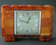Königsberg Pr.  Staatl. Bernstein Manufaktur SBM  Bernstein Uhr, Art Deco