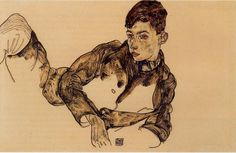 Egon Schiele, Reclining Boy Leaning on His Elbow, 1917