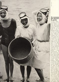 Cathee Dahmen and Ama divers (women pearl divers). Photo taken in Japan by Barry Lategan for Vogue Italia, June 1971. (Image scanned by iluvjeisa from TFS)