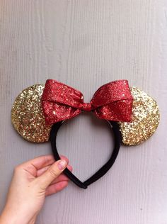 Red and Gold Minnie Mouse Ears by MagicalMickeyEars on Etsy