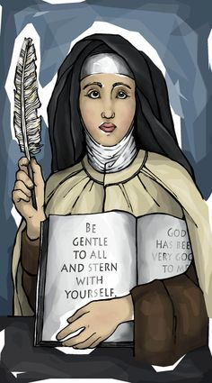 Teresa of Avila is the real deal; holy, down to earth, humble and best of all extremely articulate. Her phrases are succinct, to the point yet those few words point to a deep, Divine wisdom. Catholic Art, Catholic Saints, Patron Saints, St Theresa Of Avila, Christian Mysticism, Catholic Pictures, Saint Quotes, Prayer Cards, Christianity