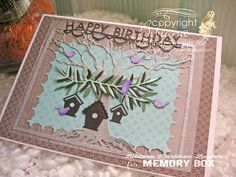 happy birthday card front made with Memory Box dies, bird houses Memory Box Dies, Happy Birthday Cards, Bird Houses, I Card, Card Making, Arts And Crafts, Stamp, Memories, Create