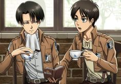 Eren: Heicho, why are you holding it like that??? Levi: *gives him a dirty look* None of your business brat. Besides, you're the one who's holding it weird.