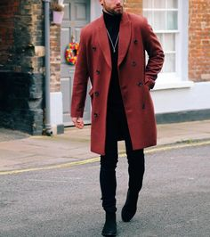 Very #cooloutfit by @chezrust - red coat, black turtleneck and chelsea boot [ www.RoyalFashionist.com ]