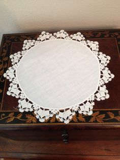 Two Vintage Doilies with Tatted Lace Edging on Linen Circle by esmeelynne on Etsy