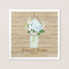 Rustic Country Mason Jar Flowers White Hydrangeas Napkin