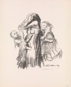 Käthe Kollwitz's 'Killed in Action (Gefallen)' showing a grief-stricken mother surrounded by a group of children