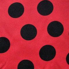 6adebbe6a26dae Strapazierfähiger Polyester Stoff in rot mit schwarzen Punkten - ideal für  Taschen