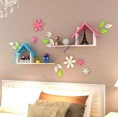 Home Decor Wall Hanging Shelf American Style Pastoral Wood Decorative Shelves For Living Room Children Bedroom Wall Decorations Diy Home Crafts, Craft Stick Crafts, Wood Crafts, Wooden Wall Decor, Diy Wall Decor, Wall Decorations, Home Decor Furniture, Kids Furniture, Luxury Furniture