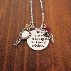 Beauty and the Beast Necklace. True beauty is found within. Belle necklace. Enchanted Rose. Swarovski elements crystals. With Love From OC. by WithLoveFromOC - Item:2017-02-23 01:32:14