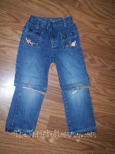 Reusing worn out jeans or jeans that are too short. #DIY #Recycle #Repurpose