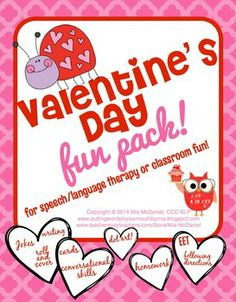 Valentine's Day Fun Pack {for speech/language therapy or classroom fun} Roll and Say