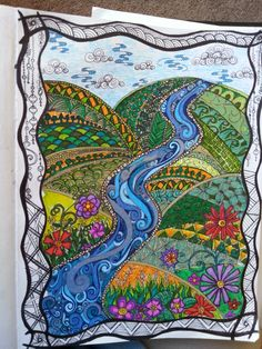 Zentangle by Chelsea W. Really like this, neat idea for a scape to fill and great colouring too.