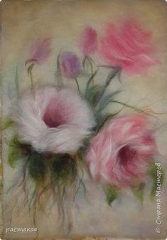 Wet Felting, Needle Felting, Felt Wall Hanging, Watercolor Flower Background, Felt Pictures, Acrylic Painting For Beginners, Textile Fiber Art, Wool Art, Felt Baby