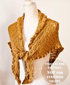 Instant download - Shawl Crochet PATTERN (pdf file) - Ruffle Shawl