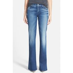 7 For All Mankind A-Pocket Flare Jeans ($215) ❤ liked on Polyvore featuring jeans, lake blue, zipper jeans, frayed jeans, flared leg jeans, pocket jeans and blue jeans