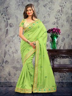 Green Bhagalpuri Silk Saree With Stone Work www.saree.com