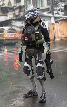 A genre of science fiction and a lawless subculture in an oppressive society dominated by computer technology and big corporations. Robot Concept Art, Armor Concept, Science Fiction, Photographie Street Art, Tactical Medic, Cyberpunk Kunst, Arte Robot, Futuristic Armour, Sci Fi Armor