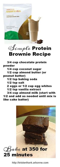 Delicious protein brownies using Arbonne Essentials Chocolate Protein! ID Delicious protein brownies using Arbonne Essentials Chocolate Protein! Arbonne Shake Recipes, Arbonne Protein Shakes, Protein Brownies, Protein Powder Recipes, Protein Shake Recipes, Protein Shop, Protein Smoothies, Protein Ball, Protein Snacks