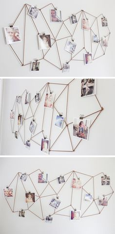 35+ Creative DIY Ways to Display Your Family Photos --> DIY Geometric Photo Display