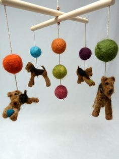 Baby Mobile, Felted Airedales, Custom Dog Breeds, Terriers with Natural Driftwood, 4 Figures. $225.00, via Etsy.