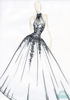 Vestido de noiva: saia ideal para altas - Croqui por Casa Assuf