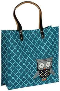 Owls Turquoise Quatrefoil Totebag