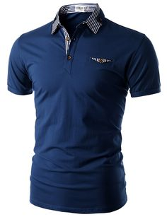 Doublju Men's Short Sleeve Polo Shirt with Neck Band Detail (CMTTS06) #doublju