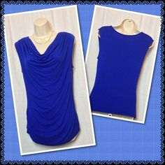 Cowl neck top  Flattering royal blue sleeveless cowl neck top. Dress it up or pair it with jeans. 95% Rayon/5% Spandex. Excellent condition. Smoke free home. New York & Company Tops Blouses