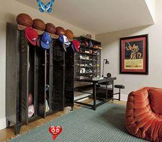 Cool Craftsmen | Katie Leede & Co Cool Craftsmen | Katie Leede & CoKatie Leede & Co<br> Neymar, Bedroom Themes, Bedroom Decor, Bedroom Wall, Kids Bedroom, Bedroom Ideas, Bedrooms, Basketball Bedroom, Basketball Hoop