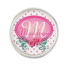 http://www.zazzle.com/pink_frame_monogram_rose-256484023613744637?rf=238523064604734277 Pink Frame Monogram Rose - This lapel pin has lots of pink roses all over. It has a pink monogram frame with roses and green foliage in which to place your name and initial. This would make a wonderful birthday or Christmas gift for your wife, mother or daughter.