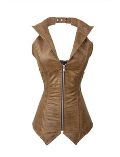 JJ-GOGO Women's Steampunk Corset Bustier Vest Leather Zip Top (S, Brown). Faux Leather. Zipper closure. Adjustable straps around the neck. Lace up in the back, zippers in the front. Sexy outwear corset vest, also good for waist training lingerie.