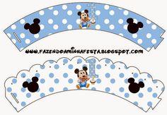 Mickey Primer Año con Lunares: Imprimibles Gratis para Fiestas. Mickey 1st Birthdays, Mickey Mouse Parties, Mickey Birthday, Mickey Party, Boy Birthday, Festa Mickey Baby, Mickey E Minie, Minnie, Cupcake Mickey