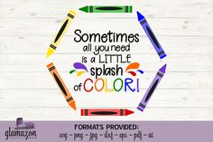 Splash of Color - Crayons - SVG DXF EPS PNG PDF JPG AI - cutting file By Glamazon Graphics