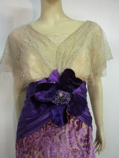 Edwardian Metallic Lace, Lavender Velvet and Satin Gown in Silk | From a collection of rare vintage evening dresses at https://www.1stdibs.com/fashion/clothing/evening-dresses/