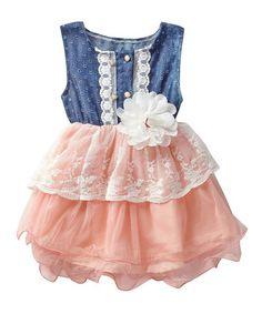 Loving this Pink & Denim Lace Eyelet Tutu Dress - Infant & Toddler on #zulily! #zulilyfinds