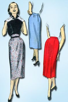 1950s Vintage Advance Sewing Pattern 6256 Sew Easy Misses Pencil Skirt 28 Waist